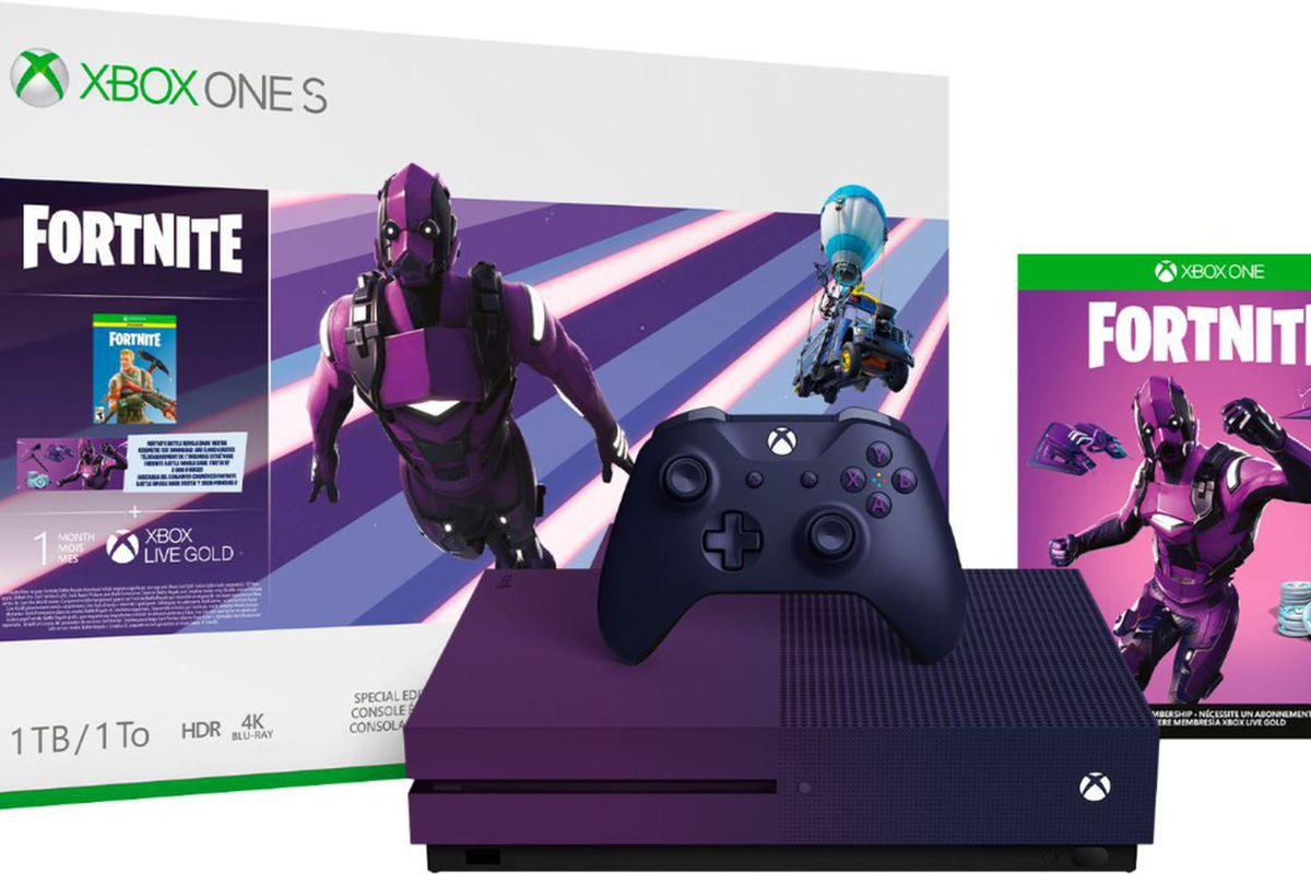Xbox One S - Fortnite fialový bundle