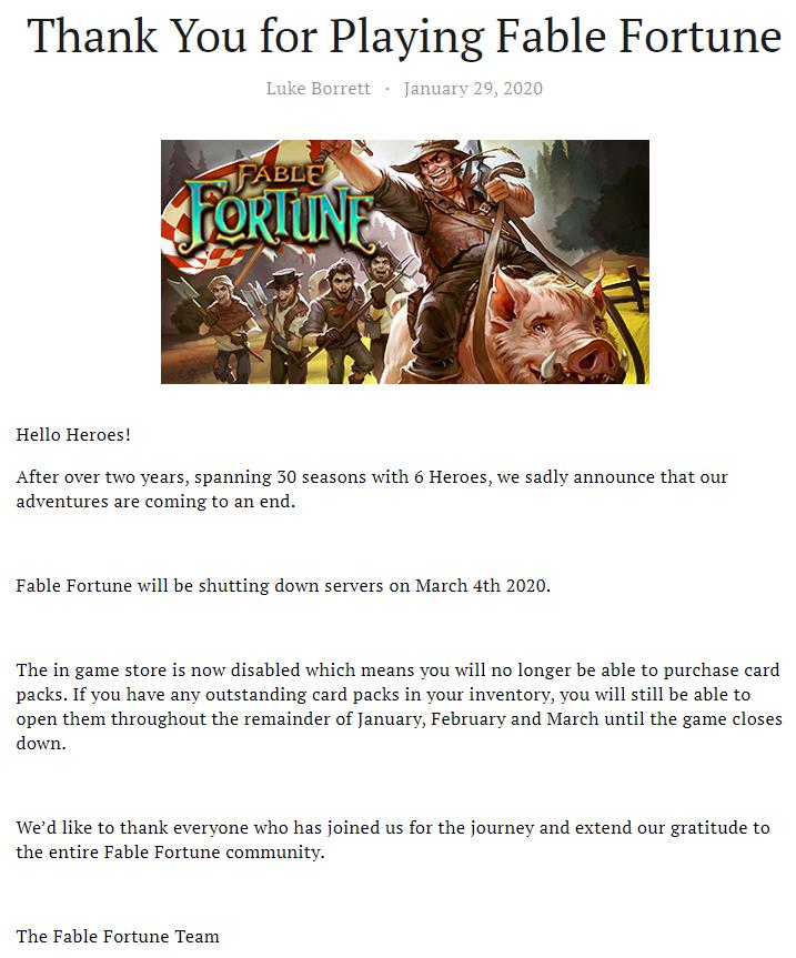 Fable Fortune - oficiální zpráva